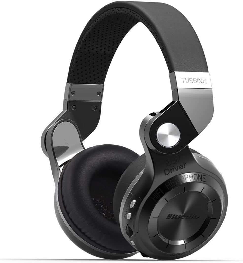 Bluedio T2 Plus Turbine Bluetooth Headphones, Over Ear Headset with Mic SD Card Slot FM Radio, 40 Hours Play Time and Soft Protein Earpads, Wired Headsets for Sports Work Travel Black