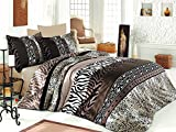 LaModaHome 2 Pcs Luxury Soft Colored Satin Full and Double Quilt Cover Set / 100% Cotton Sattin Zebra Pattern Mottled Brown Tones Irregular Lines Leopar Pattern