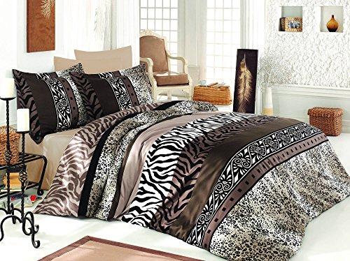 LaModaHome 3 Pcs Luxury Soft Colored Bedroom 100% Cotton Satin Quilt Duvet Cover Set Line Zebra Leopard Wild Animal Brown Safari Design Patttern Queen/Full/ Bed