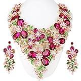 Janefashions Lg Bouquet Pink Austrian Rhinestone Pearl Necklace Earrings Set Pageant N11903p