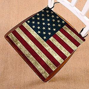 Custom American Flag Chair Cushion,American Flag Seat Cushion Chair Cushion  Floor Cushion Size 16x16 Inch