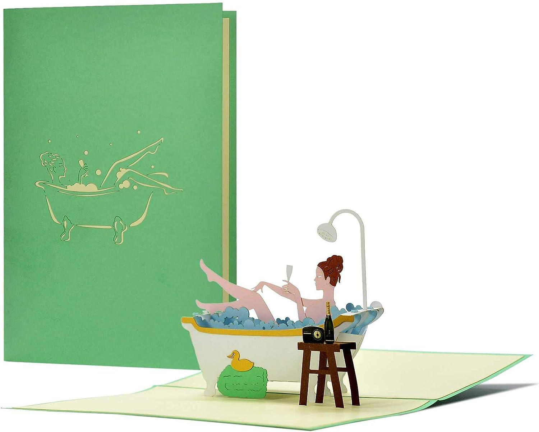 Wellness - Tarjeta de cumpleaños 3D Pop-Up, idea de regalo para cumpleaños, día de la madre, día de San Valentín, regalo para esposa, mamá, hija, mejor amiga H26