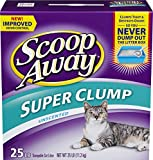 Scoop Away Cat Litter, Super Clump Litter with Ammonia Shield, Unscented, 25 Pound Carton