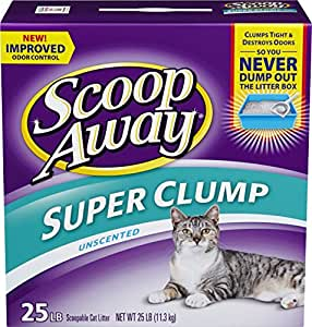 Scoop Away Super Clump with Ammonia Shield, Unscented Cat Litter, 25 Pound Carton