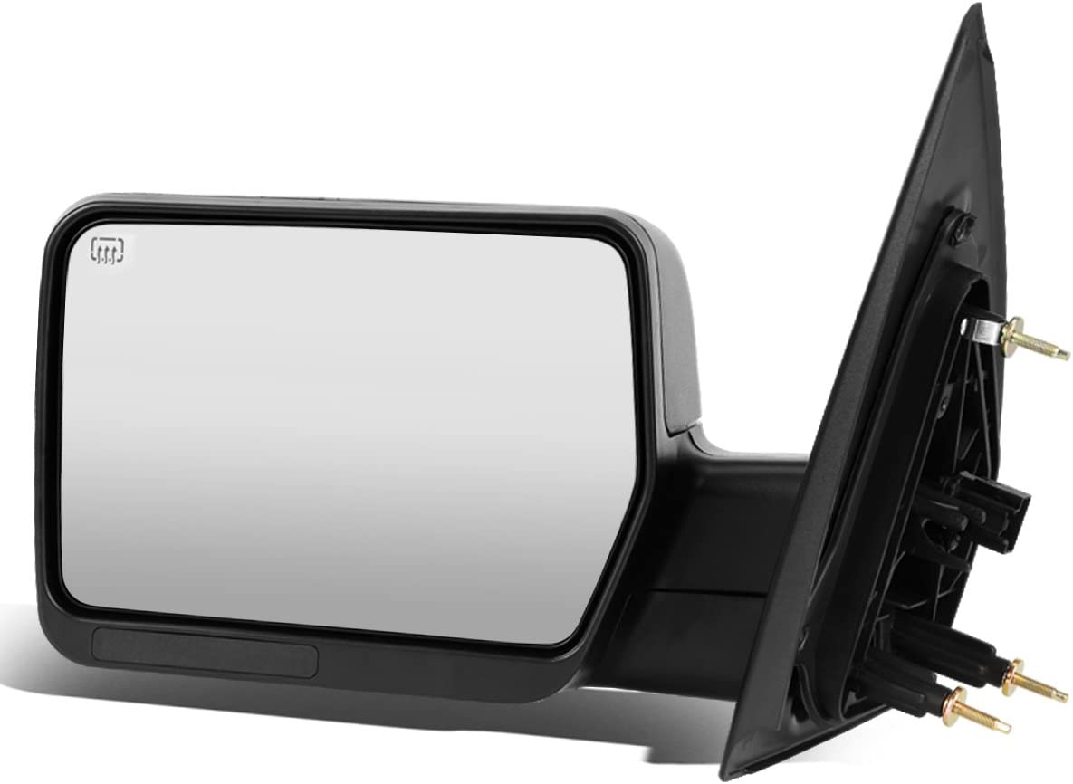 For Ford F150 Black Powered + Heated Glass + Manual Folding Side Towing Mirror (Left/Driver)
