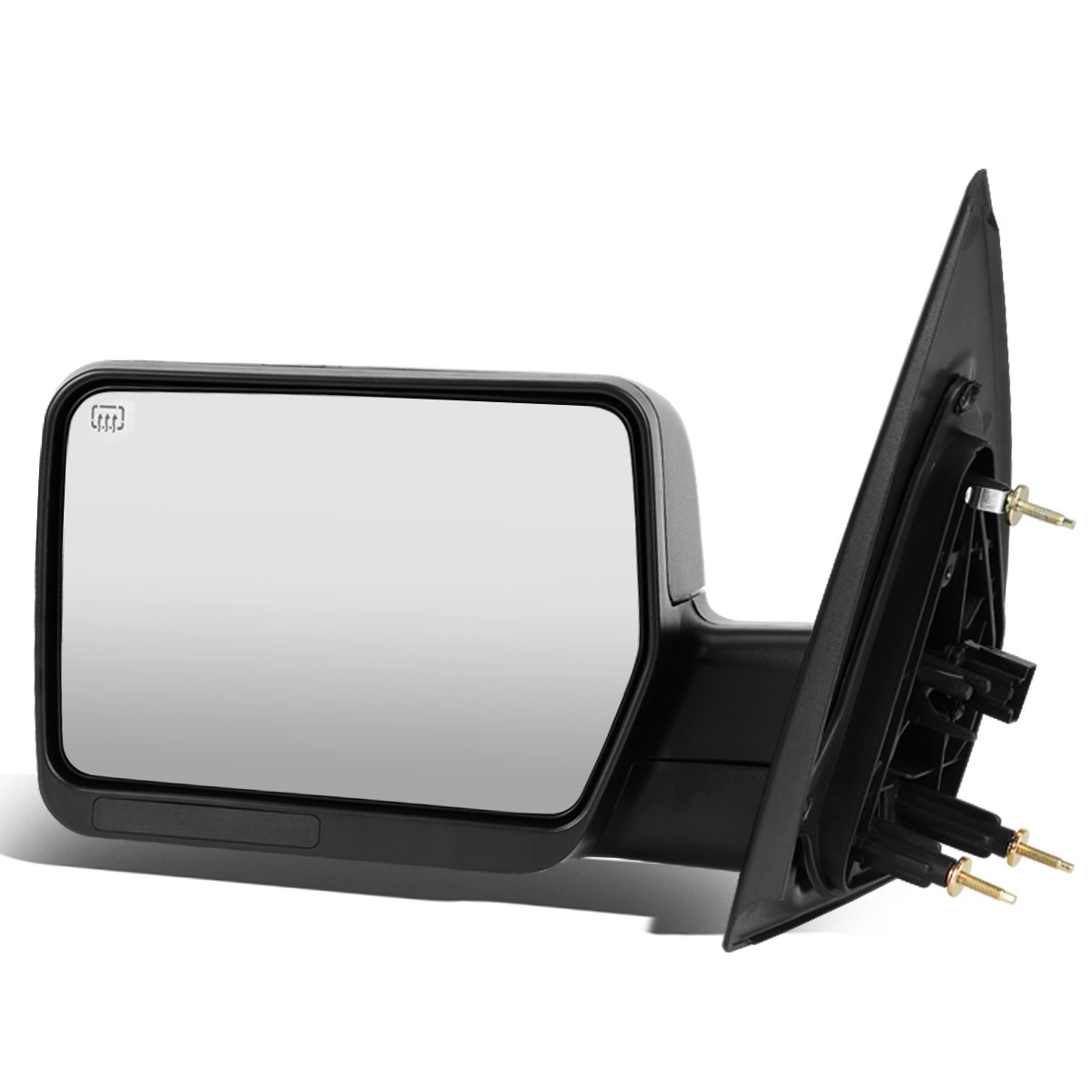 For Ford F150 Black Powered + Heated Glass + Manual Folding Side Towing Mirror (Left/Driver) by Auto Dynasty