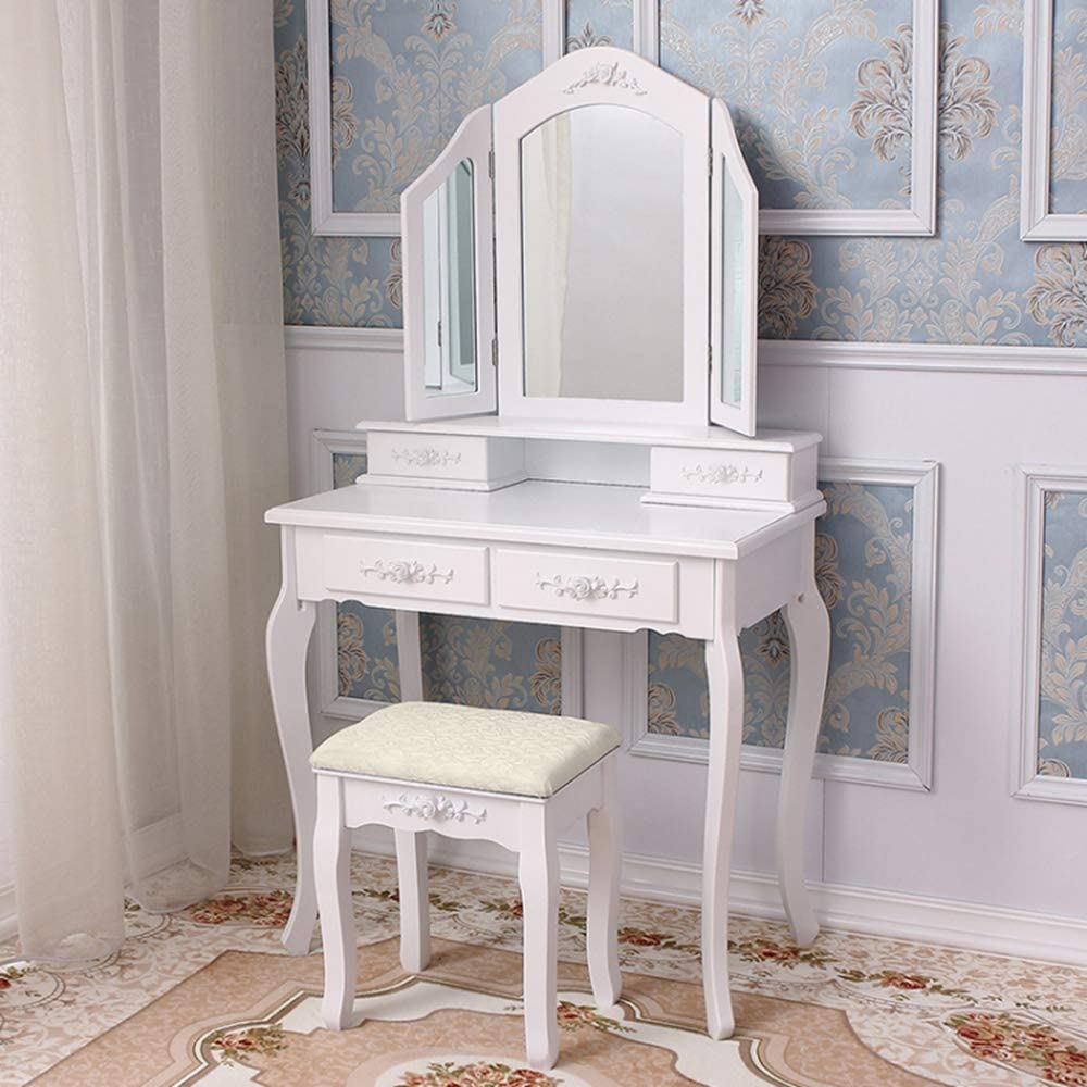 136x75x40cm Yulie Coiffeuse Table de Maquillage avec 3 Miroirs pliants 4 Tiroirs et 1 Tabouret en Bois