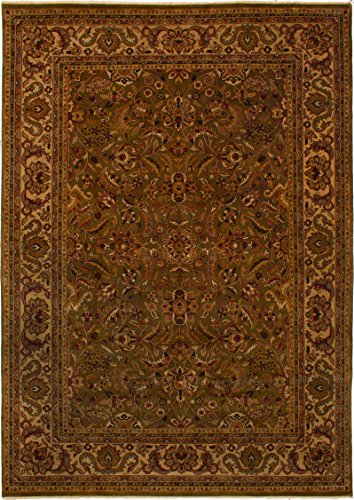 eCarpet Gallery Large Area Rug for Living Room, Bedroom | Hand-Knotted Wool Rug | Finest Agra Jaipur Bordered Green Rug 9'8
