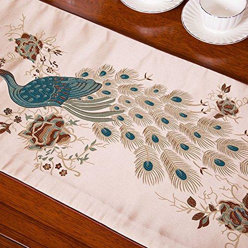 Beautiful Peacock Embroidery Dresser Table Runner Light