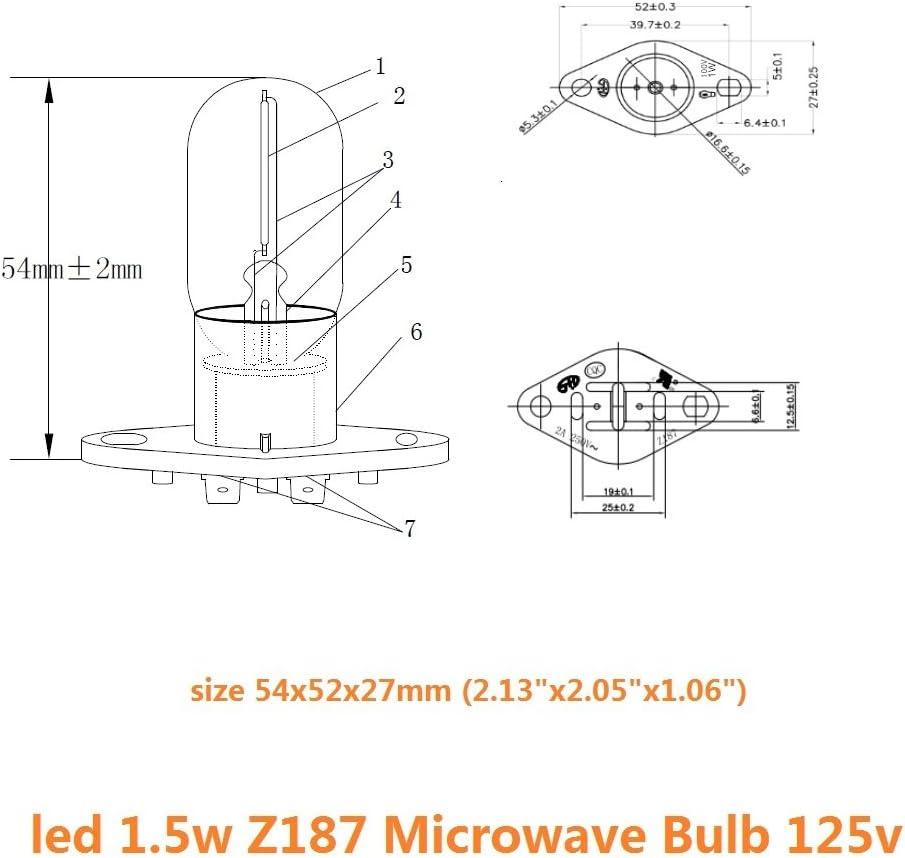 Bombilla Led Z187 Horno de microondas Bombilla recta T170 Bombilla ...