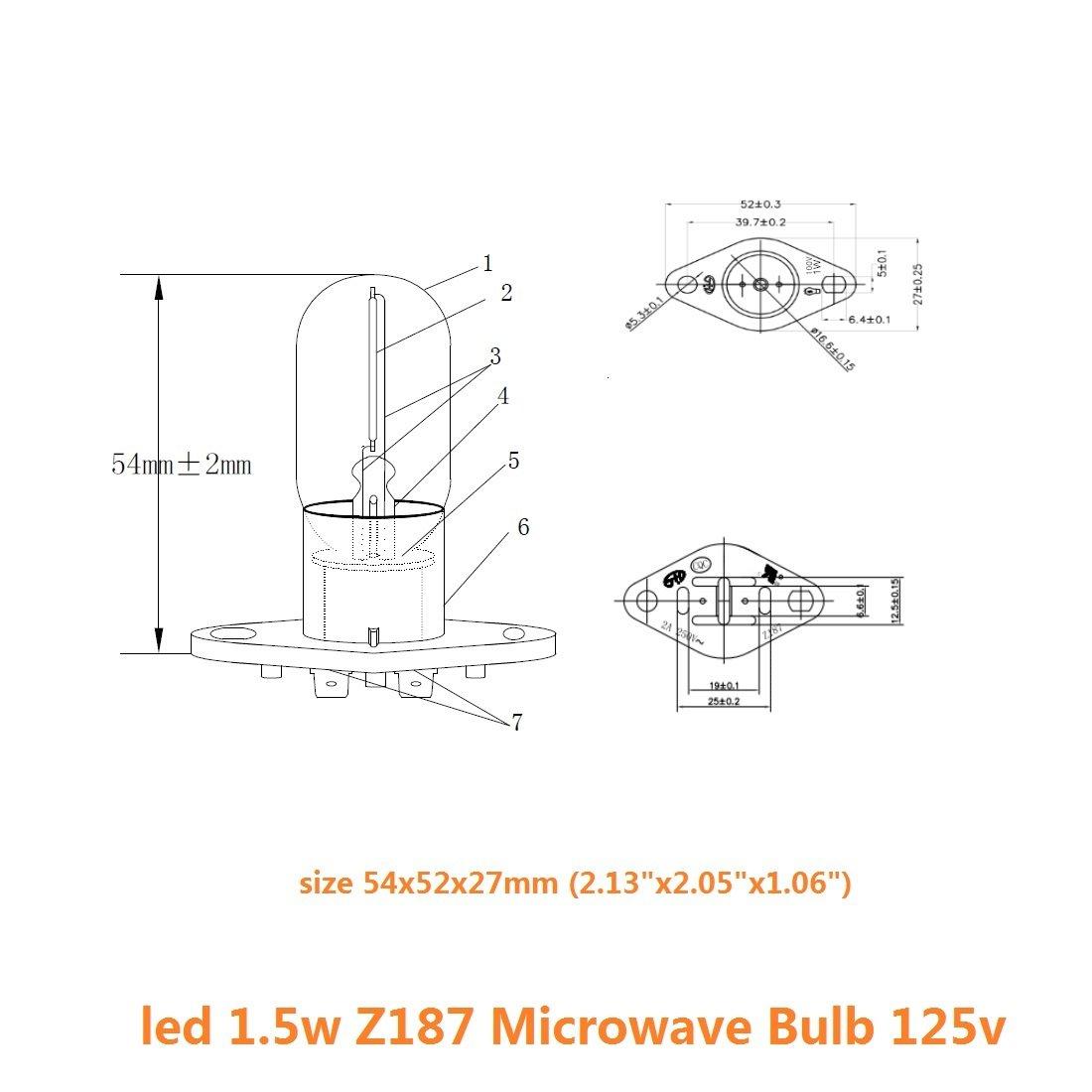 Bombilla LED de filamento de 1.5 W Z187 para microondas, 240 V, 20 W, equivalente a lámparas incandescentes para frigorífico Galanz, microondas, horno, ...