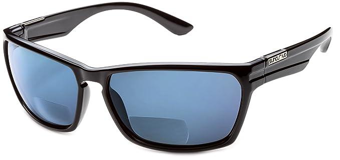f3686c7d1c99e Suncloud Cutout Polarized Bi-Focal Reading Sunglasses in Black w Blue  Mirror Lens +