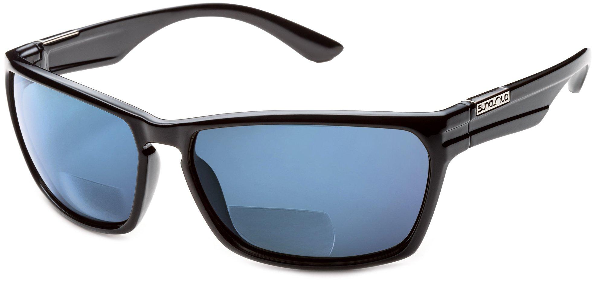 Suncloud Cutout Polarized Bi-Focal Reading Sunglasses in Black w/ Blue Mirror Lens +2.25