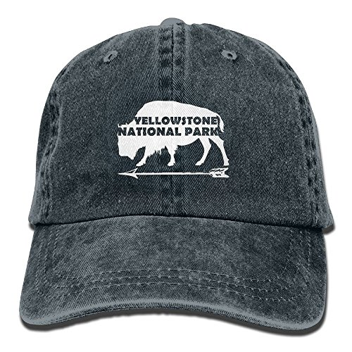 Yankees Buffalo (Yellowstone National Park Old Faithful Buffalo Washed Retro Adjustable Jeans Cap Trucker Hats for Women and Men)