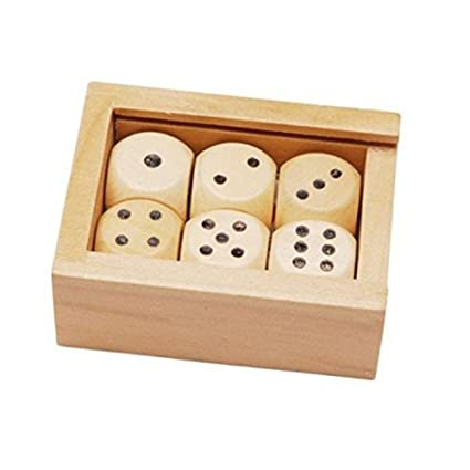 Amazon Com 6 Wooden Dice In A Small Wooden Box Toys Games