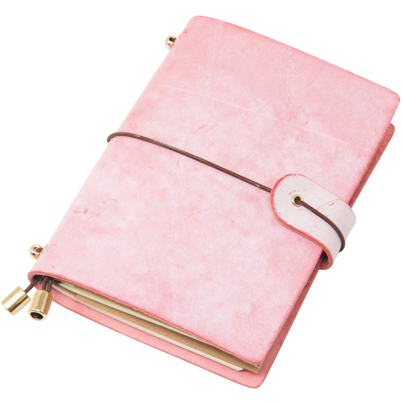 クラシック本革ソフトカバーノートブック、詰め替え可能ページレザージャーナル、ギフト、日記、ハンドメイドパーソナライズトラベラーズノートブック Passport Size ピンク XHZBK Passport Size ピンク B07HWPJ42K