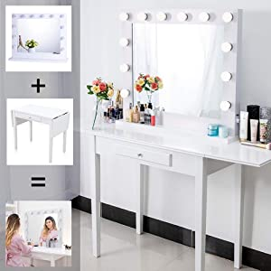 Chende White Wooden Vanity Set with Hollywood Lighted Vanity Mirror, Makeup Dressing Table with Large Vanity Mirror for Bedroom, Drop Leaf Vanity Desk with 1 Drawer