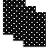 Cackleberry Home Black and White Polka Dot Fabric Kitchen Towels 18 x 28 Inches, Set of 3