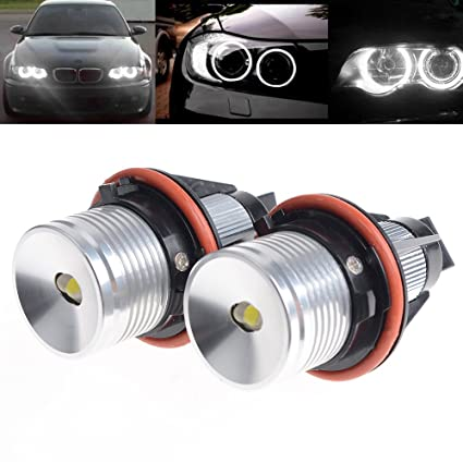 amazon com: 2x error free 6000k white 6w led angel eyes halo ring light  marker bulb replacement for bmw car x3 x5 e39 e60 1 5 6 7 series: automotive