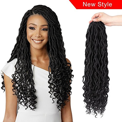 Price comparison product image Freefree 6Packs 20'' Goddess Locs Crochet Hair Wavy Curly Faux Locs Crochet Braids Synthetic Hair Extensions Dreadlocks Crochet Locs Low Temperature Braiding Hair 1B 20 inch (20'' ( 6 Packs), 1B#)