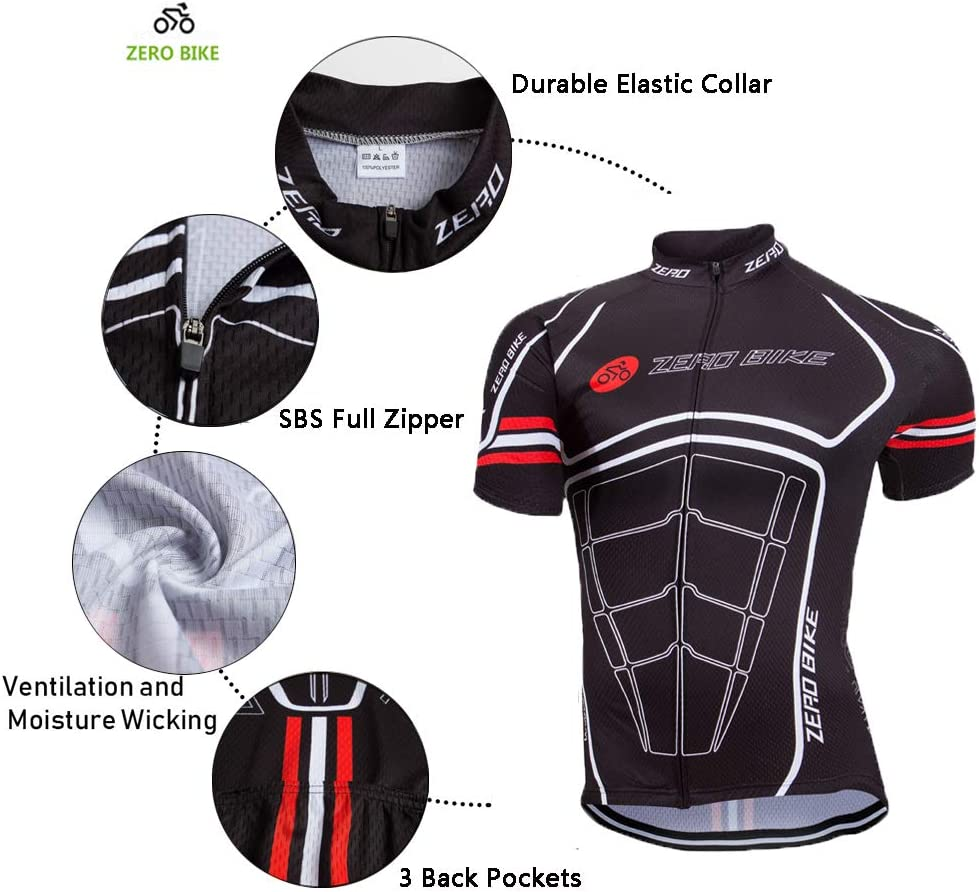 ZEROBIKE Men's Short Sleeve Breathable Cycling Jersey Sports Clothing 3D Padded Shorts Set Full Zip: Clothing