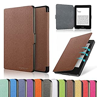 HAOCOO Ultra Slim Leather Smart Case Cover Build in Magnetic [Auto Sleep/Wake] Function for All-New Kindle Paperwhite 2012, 2013, 2015 Versions (Not fit All-New Paperwhite 10th Generation)(Aqua)