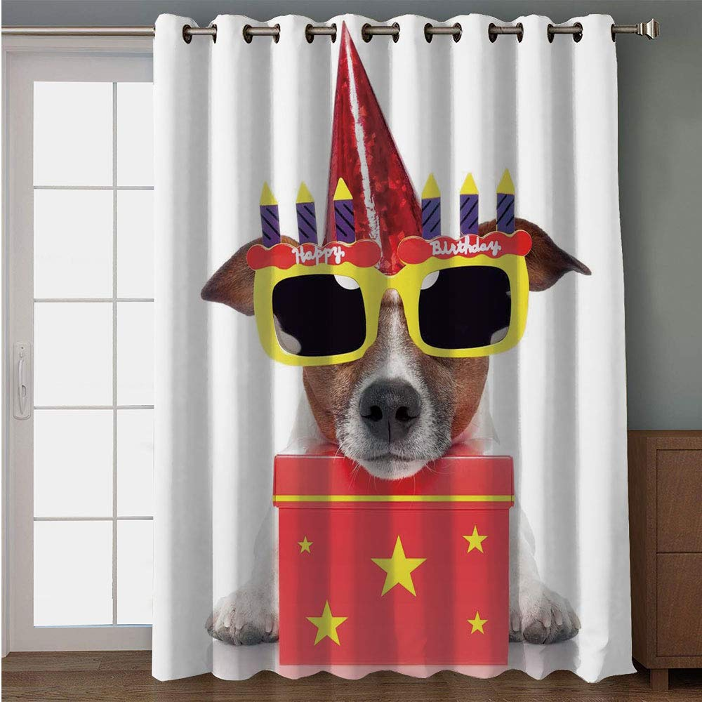 IPrint Blackout Patio Door CurtainBirthday Decorations For KidsParty Dog With Sunglasses And Cone Hat Boxes Stars ImageRed Yellowfor Sliding