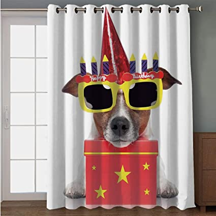 IPrint Blackout Patio Door CurtainBirthday Decorations For KidsParty Dog With Sunglasses And