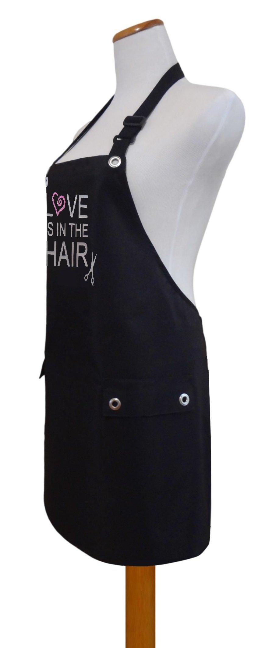 Trendy Salon Aprons Polyurethane Waterproof Hair Stylist Apron, Love Hair (Black Scissors Blower)