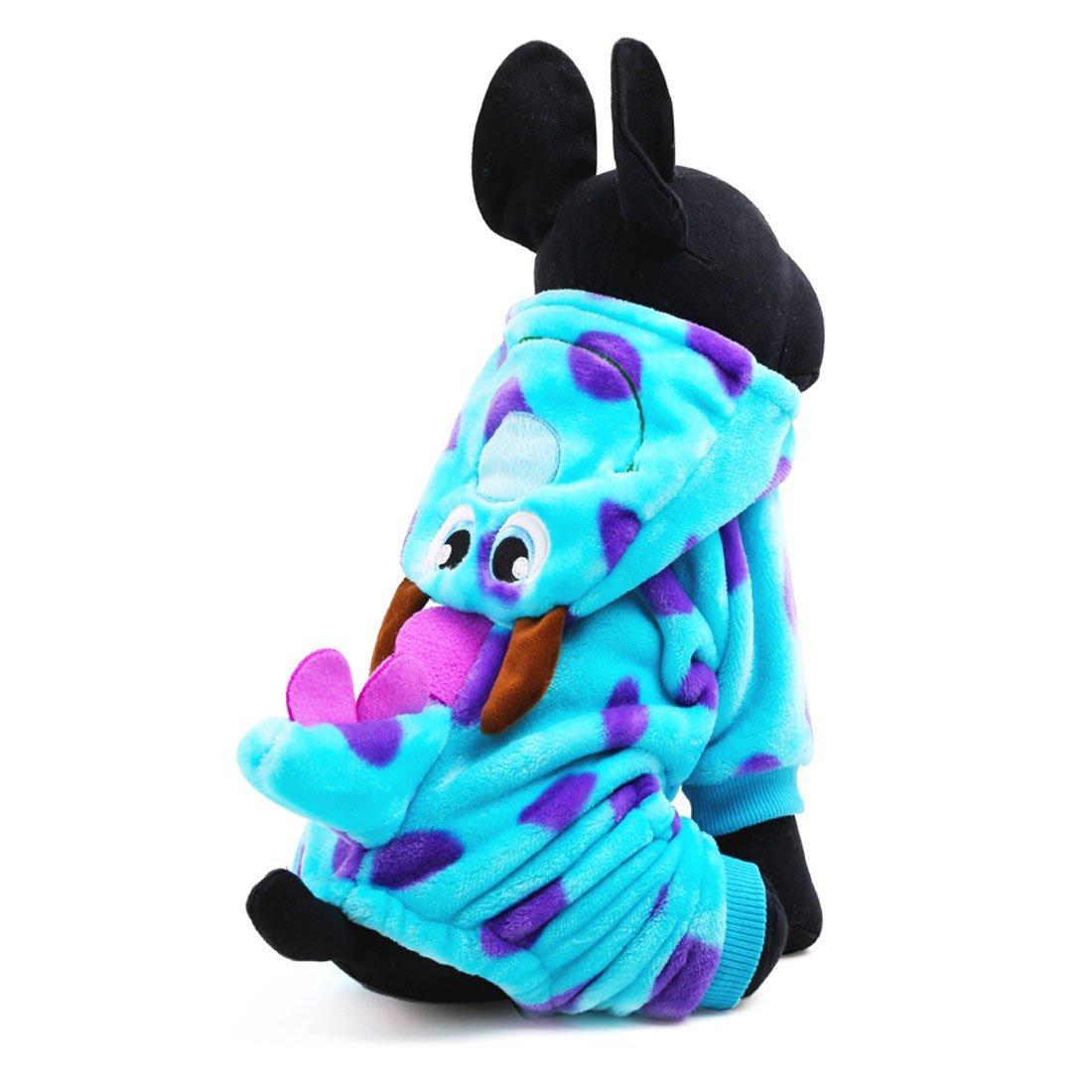 LOVEKONG Dog Cat Dinosaur Costume With Hood Funny Dog Flannel Jumpsuit Cloth Party Cosplay Apparel (L)