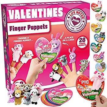 28 Packs Valentines Day Gift Cards with Animal Finger puppet Set for Kids Party Favor, Classroom Exchange Prizes, Valentine's Greeting Cards, include 7 different designs of plush finger puppets
