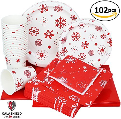 Galashield Christmas Disposable Dinnerware Set Supplies for 20 Guests Includes Paper Plates, Cups, Napkins, and Tablecloths