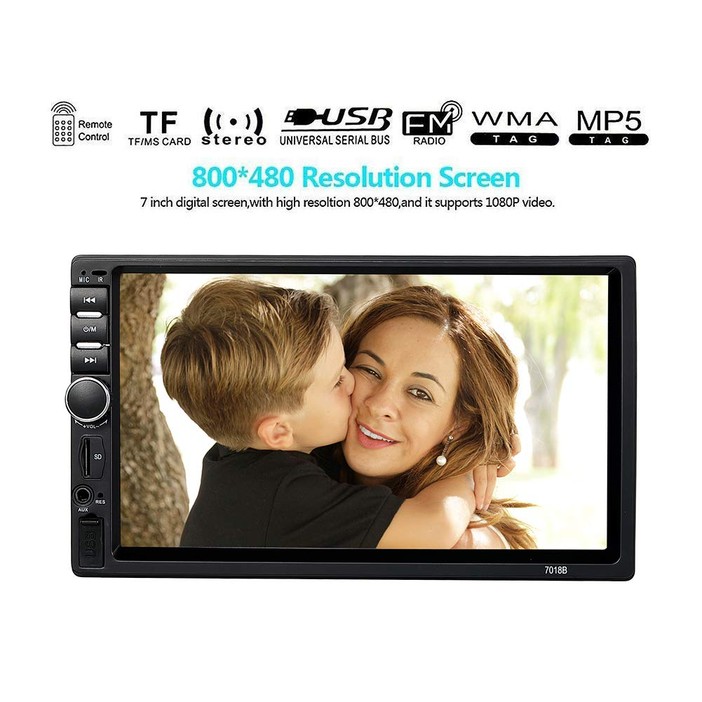 EKADA 7 Zoll Autoradio MP5 Player FM Radio 1080P 2 Din HD Bluetooth Touch Screen Mirror Link Fernbedienung USB/TF Schnittstelle mit 720P Rü ckfahrkamera (CL-3)