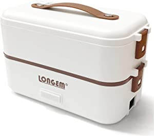 Electric Lunch Box Portable Food Warmer for Home Office Work 110V Double Layers 304 Stainless Steel with Removable Compartments Food Container with Spoon (2 Layers)