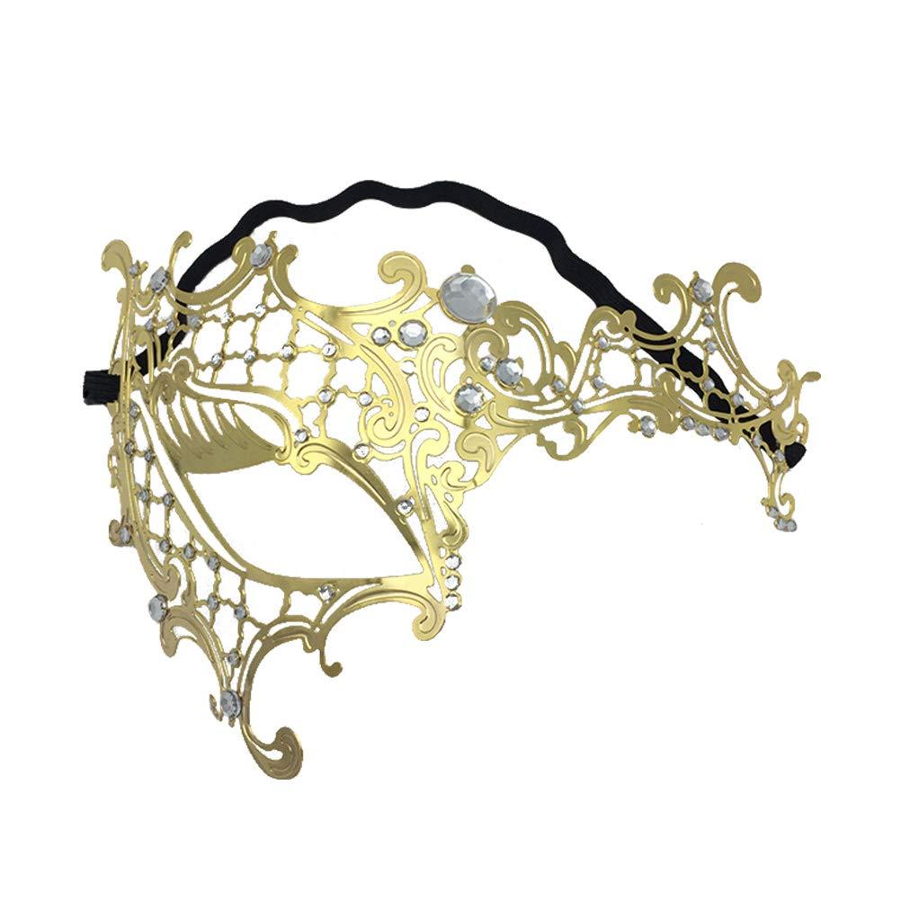 Venetian Mask Rhinestone Metal Half Face Mask Cosplay Costume Accessory for Halloween Carnival Masquerade (Golden)