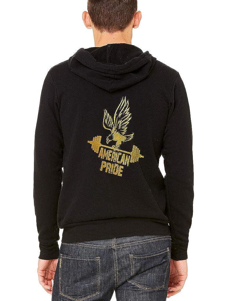 Mens Gold FOL American Pride Eagle Dumbells Black Fleece Zipper Hoodie Black