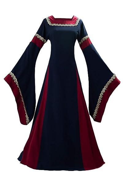 Vestido de Traje Medieval Vestido renacentista para Mujer Vestido Largo de Noche de Estilo Victoriano gotico con Manga Larga de Llamarada