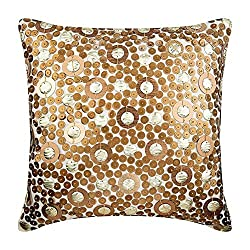 Gold Sequins Silk Pillow Covers
