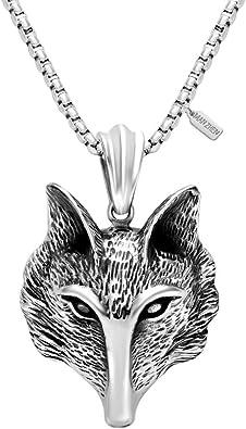 MANZHEN Anti-Silver Wisdom Fox Head Pendant Necklace Animal Charm Necklace for Boys