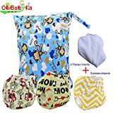 Baby Waterproof Nappy Diapers 3pcs, 5pcs Inserts,1 Wet Bag by Ohbabyka