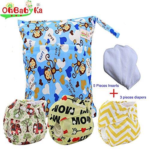 Baby Waterproof Nappy Diapers 3pcs, 5pcs Inserts,1 Wet Bag by Ohbabyka by OHBABYKA