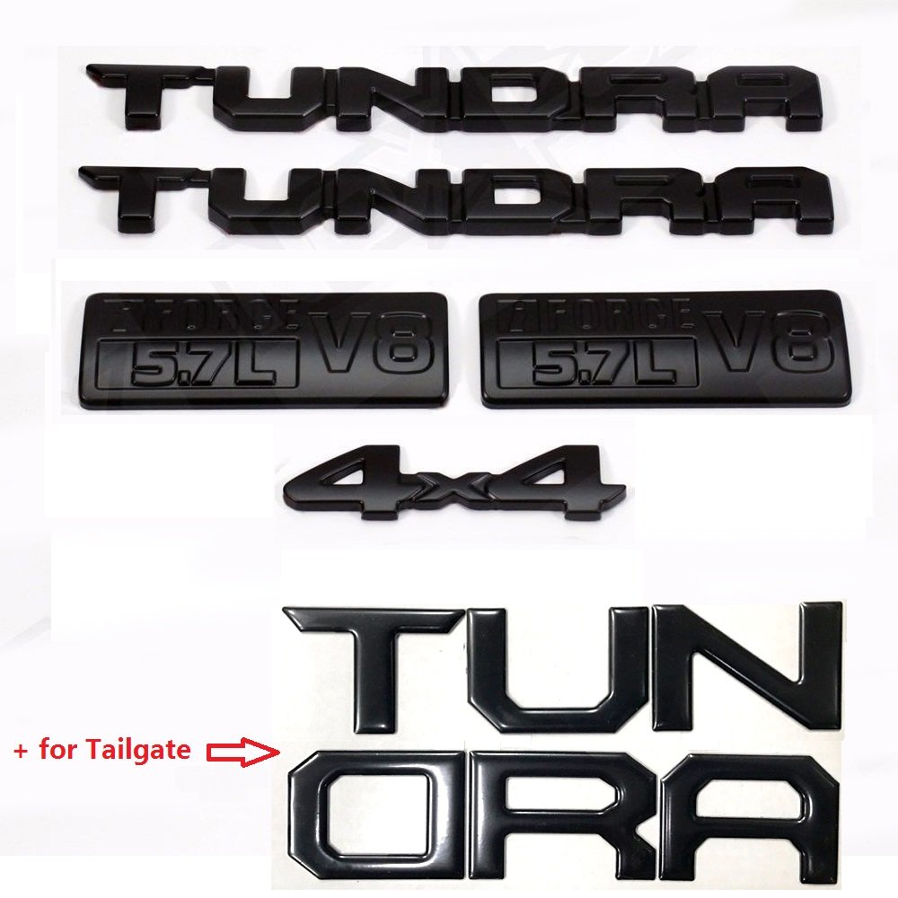 OEM 14inch Black Tundra 5.7L V8 4x4 plus Tailgat Tundra Badge 3D logo emblems for Tundra 2013-2017 TRD Black Sanucaraofo