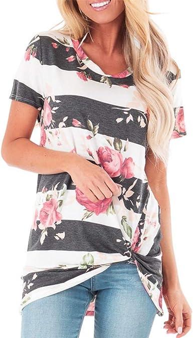 FELZ Camiseta Mujer Manga Corta Casual Blusa de Cuello Redondo Estampado Flores Verano Suelta Camisa Larga Camisa de Playa Verano Tops Casual T-Shirt: Amazon.es: Ropa y accesorios
