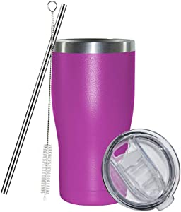 30 oz Stainless Steel Coffee Tumbler Set, AGH Reusable Insulated Travel Mug with Lid and Straw, Double Wall Slim Water Cup for Iced Hot Drinks, Beverages, Easy to Hold and Clean (Fuchia)