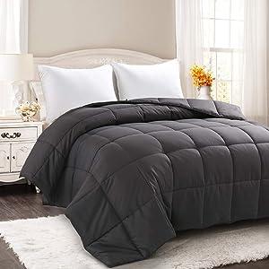 COOSLEEP HOME All Season Oversized Queen Down Alternative Comforter with Corner Tabs-Soft Quilted Duvet Insert-Hypoallergenic-Stand Alone Comforter-Machine Washable Warm Fluffy(Dark Gray) 98x98 Inch