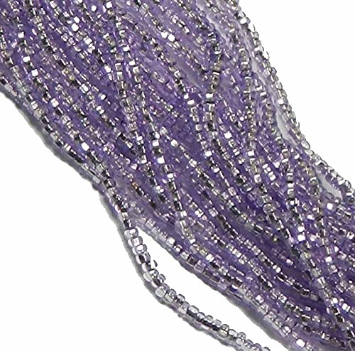 Purple Solgel Silver Lined Czech 8/0 Glass Seed Beads 1 Full 12 Strand Hank Preciosa Jablonex (Glass Lined Silver)