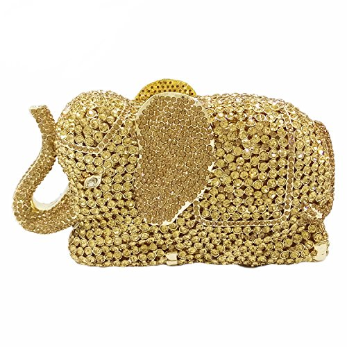 Gold Elephant Evening Clutches Bags Metal Minaudiere Handbags Clutch Bridal Wedding Party Purse
