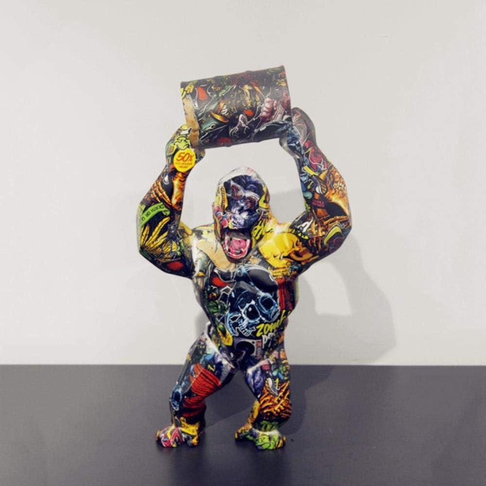 zzzddd Lpture De Bureau,Big Blue Monkey Kong Cr/éatifs D/écoration Salon Sculpture Gorille Statue Moderne PRF G/éom/étrique Ornements Anniversaire Cadeaux Art