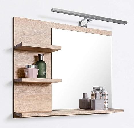 Domtech Badspiegel Mit Ablagen Und Led Beleuchtung Eiche Badezimmer Spiegel Wandspiegel Led Wandlampe L Amazon De Kuche Haushalt