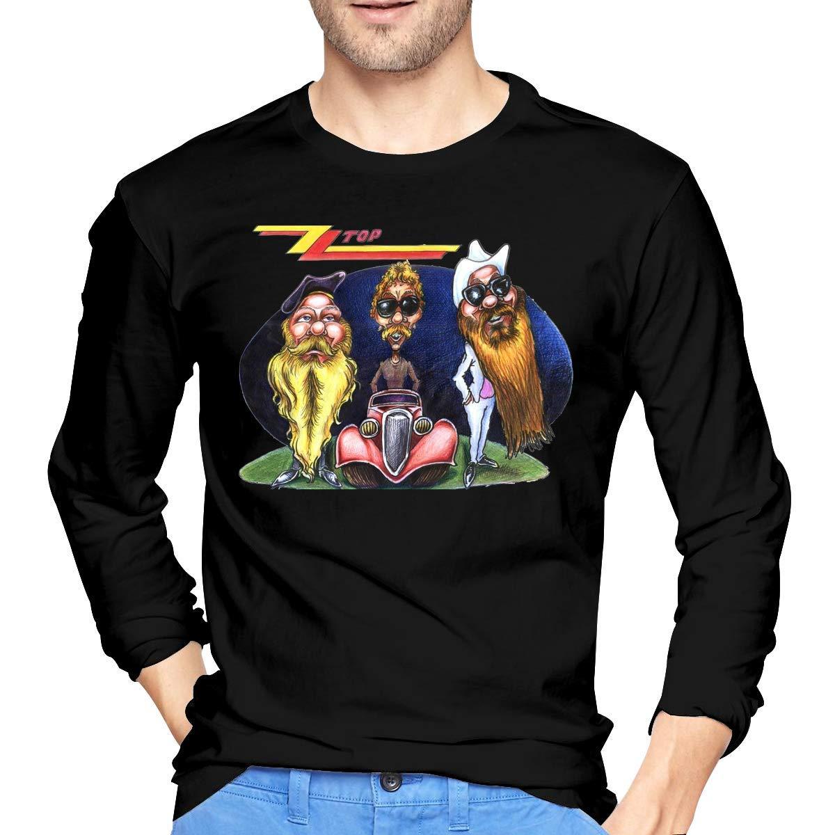 Negra Camiseta de Manga Larga de algod/ón ZZ Top para Hombre